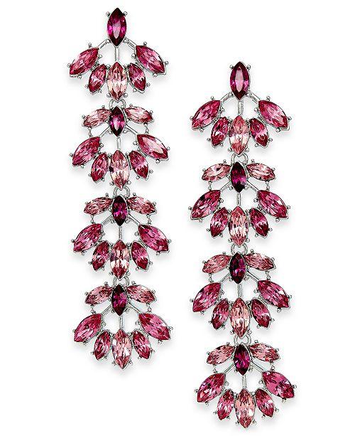INC International Concepts INC Silver-Tone Crystal Fan Linear Drop Earrings, Created For Macy's