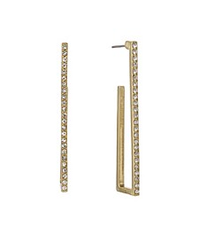 Gold Tone Linear Square Hoop Post Earrings