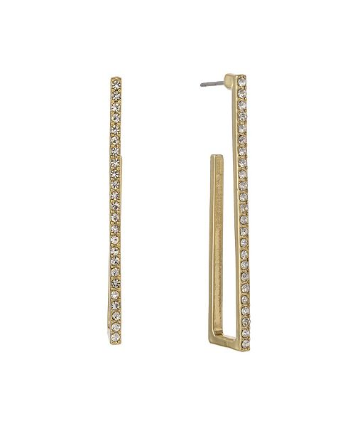 Christian Siriano Gold Tone Linear Square Hoop Post Earrings