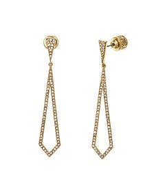 Gold Tone Linear Teardrop Earrings