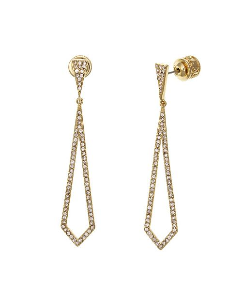 Christian Siriano Gold Tone Linear Teardrop Earrings