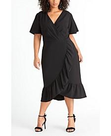 Short Sleeve Crepe Back Scuba Ruffle Dress