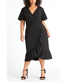 RACHEL Rachel Roy Short Sleeve Crepe Back Scuba Ruffle Dress