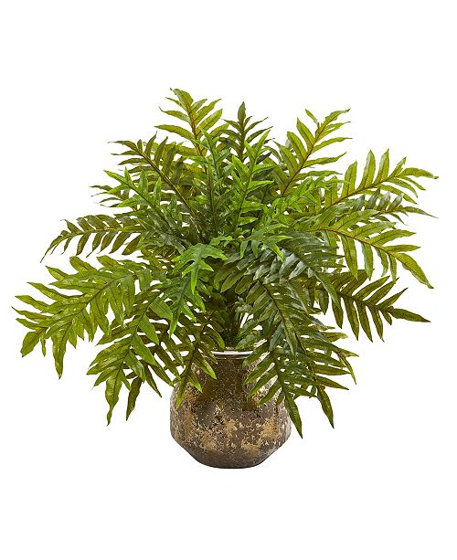 """Nearly Natural 24"""" Hares Foot Fern Artificial Plant in Vase Real Touch"""