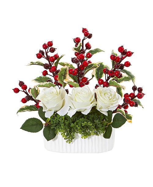 """Nearly Natural 12"""" Rose and Holly Berry Artificial Arrangement in White Vase"""