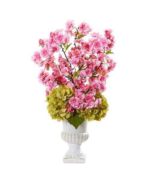 """Nearly Natural 23"""" Hydrangea and Cherry Blossom Artificial Arrangement in White Urn"""