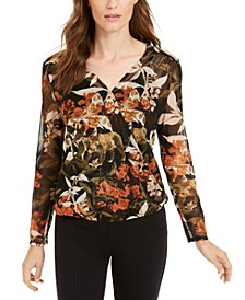 INC Petite Printed Faux-Wrap Top, Created For Macy's