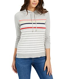 Petite Striped Hoodie Sweater, Created For Macy's