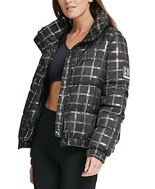 Sport Metallic Plaid Puffer Jacket