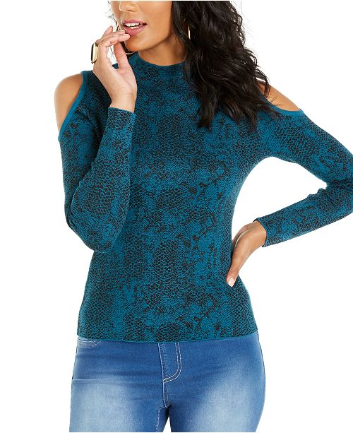 Thalia Sodi Jacquard Cold-Shoulder Sweater, Created For Macy's