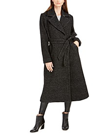 Belted Plaid Coat With Faux-Leather Trim