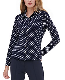 Polka Dot Button-Up Shirt