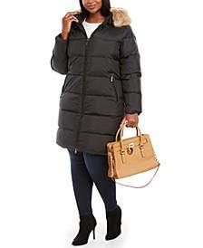 Plus Size Faux-Fur-Trim Hooded Down Puffer Coat