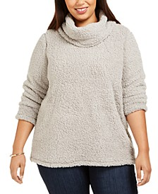 Plus Size Cowlneck Faux Sherpa Sweater, Created For Macy's