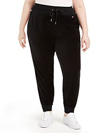 Plus Size Track-Stripe Velour Jogger Pants