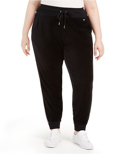 Tommy Hilfiger Plus Size Track-Stripe Velour Jogger Pants
