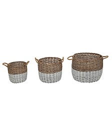 Glitzhome Square Willow Baskets, Set of 3