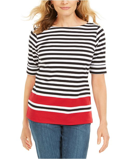 Karen Scott Petite Dahla Striped Boat-Neck Top, Created For Macy's