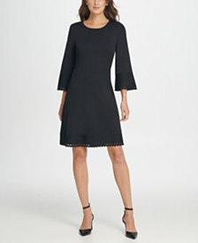 L/S Seamed Fit  Flare Dress