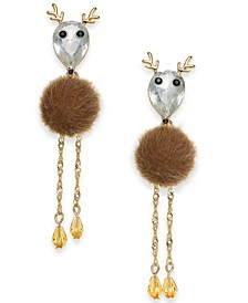INC Gold-Tone Crystal & Faux-Fur Reindeer Linear Drop Earrings, Created for Macy's