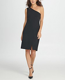 One Shoulder Mesh Insert Sheath Dress