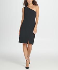 DKNY One Shoulder Mesh Insert Sheath Dress