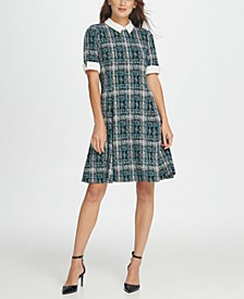 Contrast Collar Tweed Fit  Flare Dress
