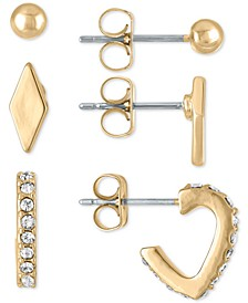Gold-Tone Hoop and Stud Earrings 3-Pc. Gift Set