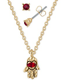 "Gold-Tone Red Crystal Stud Earrings & Hamsa Hand Pendant Necklace Gift Set, 16"" + 2"" extender"
