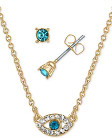 "Gold-Tone Aqua Crystal Stud Earrings & Pendant Necklace Gift Set, 16"" + 2"" extender"