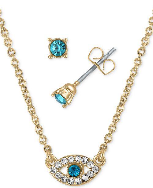 "RACHEL Rachel Roy Gold-Tone Aqua Crystal Stud Earrings & Pendant Necklace Gift Set, 16"" + 2"" extender"