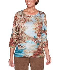 Petite Walnut Grove Scenic-Print Top