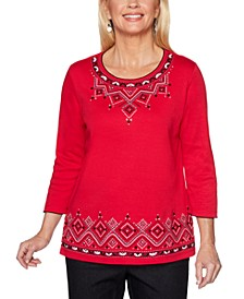 Petite Diamond Embroidered Well Red Top