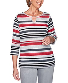 Petite Melange Stripe Knit Well Red Top