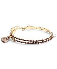 Gold-Tone Pavé Evil Eye & Tassel Coil Bracelet