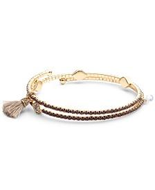 lonna & lilly Gold-Tone Pavé Evil Eye & Tassel Coil Bracelet