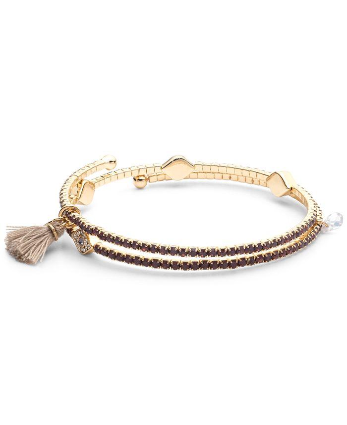 lonna & lilly - Gold-Tone Pavé Evil Eye & Tassel Coil Bracelet