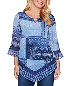 Petite Autumn Harvest Patchwork-Print Tunic