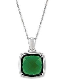 """Green Agate (15mm) 18"""" Pendant Necklace in Sterling Silver"""