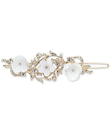 Gold-Tone Pavé & Mother-of-Pearl Flower Hair Barrette