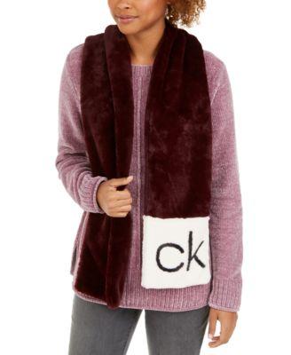 CK Logo Faux Fur Scarf