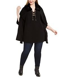 Plus Size Faux Fur Lace-Up Sweater