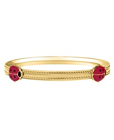 Children's Ladybug Bangle Bracelet in 14k Yellow Gold over Brass Alloy