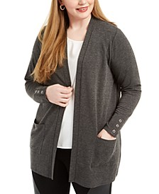 Plus Size Patch-Pocket Cardigan