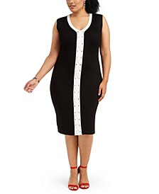 Trendy Plus Size Lace-Up Bodycon Dress