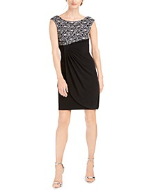 Petite Glitter-Lace Sheath Dress
