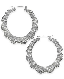 "Silver-Tone Pavé Bamboo Medium Hoop Earrings, 2"", Created For Macy's"