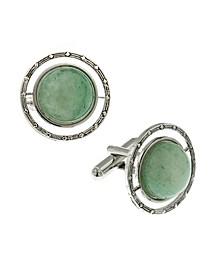 Jewelry Silver-Tone Semi-Precious Jade Round Cufflinks