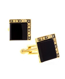 Jewelry 14K Gold Plated Onyx Square Cufflinks