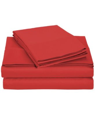 University 4 Piece Red Solid Twin Xl Sheet Set
